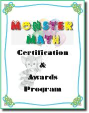 e-Book Monster Math certifying addition subtraction multiplication division