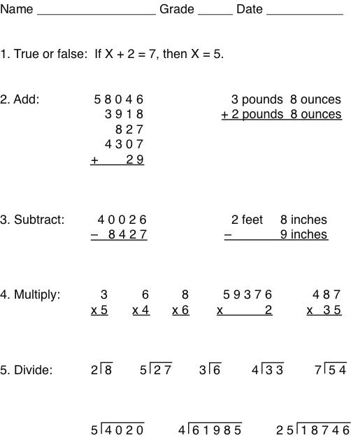 Whole number test for addition, subtraction, multiplication, division