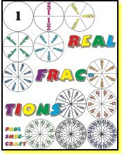 e-Book Real Fractions add subtract multiply divide  fraction circles
